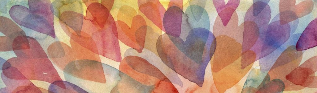 Image of watercolour painting of layered hearts